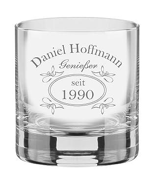 EIN Whiskey Tumbler, Glas mit Whiskey Design inkl. Wunschgravur ...