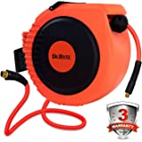 DuRyte Pro Retractable Air Hose Reel with Excellent Optional-Position Lock Mechanism and 3/8-Inch by 50-Feet Hybrid Hose
