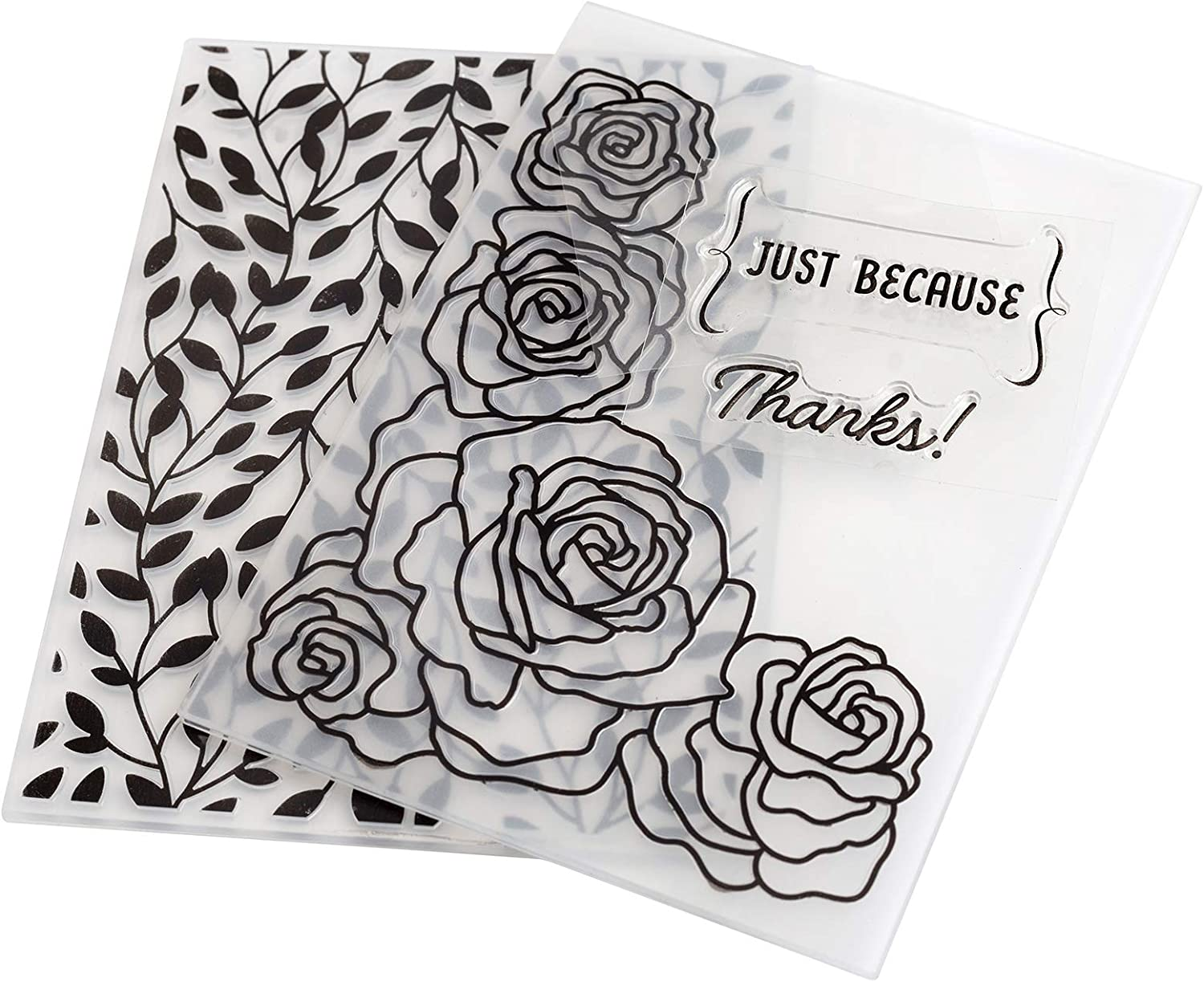 American Crafts 352077 Just Because Embossing Folders and Stamps Multi
