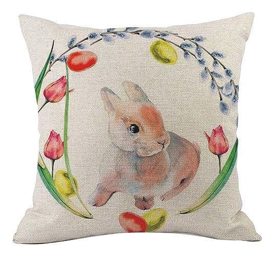 LEEDY Happy Easter Funda De Cojín Rabbit Print Funda De ...