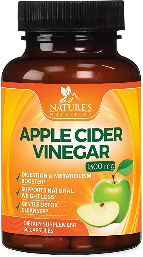Natural Raw Apple Cider Vinegar Capsules from The Mother 1300mg - Extra Strength Natural Weight Support, Made in USA, Best Vegan ACV, Metabolism Support and Cleanse Supplement - 60 Capsules