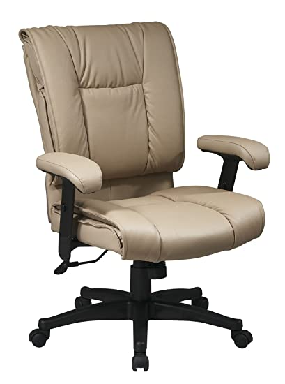 Office Star Work Smart Deluxe Mid Back Leather Chair With Pillow Top Seat    Tan