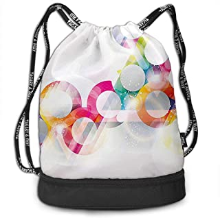 RAINNY Disc Shaped Circle Gradient Bubbles Drawstring Bag for Men & Women - Large Storage Waterproof Cinch Backpack Sackpack Tote Sack for Gym Travel