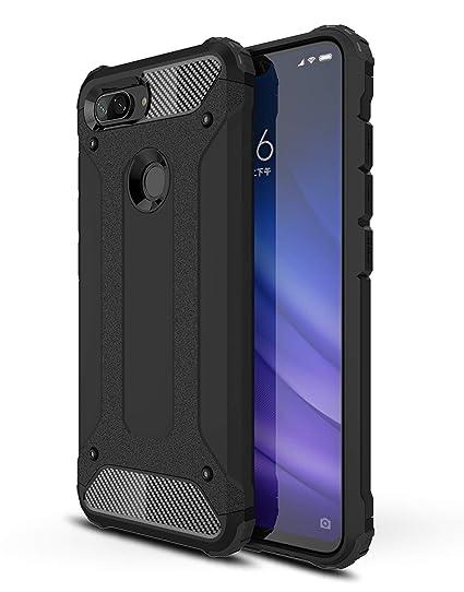 AOBOK Funda Xiaomi Mi 8 Lite, Negro Moda Armadura Híbrida Carcasa Shock Absorción Proteccion, Anti-Scratch, Funda Case para Xiaomi Mi 8 Lite ...