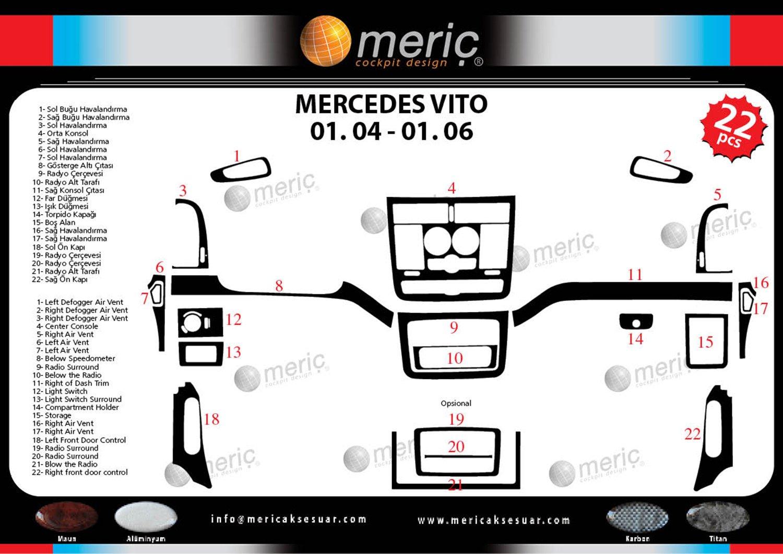 espec/íficamente para el veh/ículo MERIC Decoraci/ón de Salpicadero CD-AL00361 Versi/ón 3D exclusiva Color: Aluminio 22 Pieza