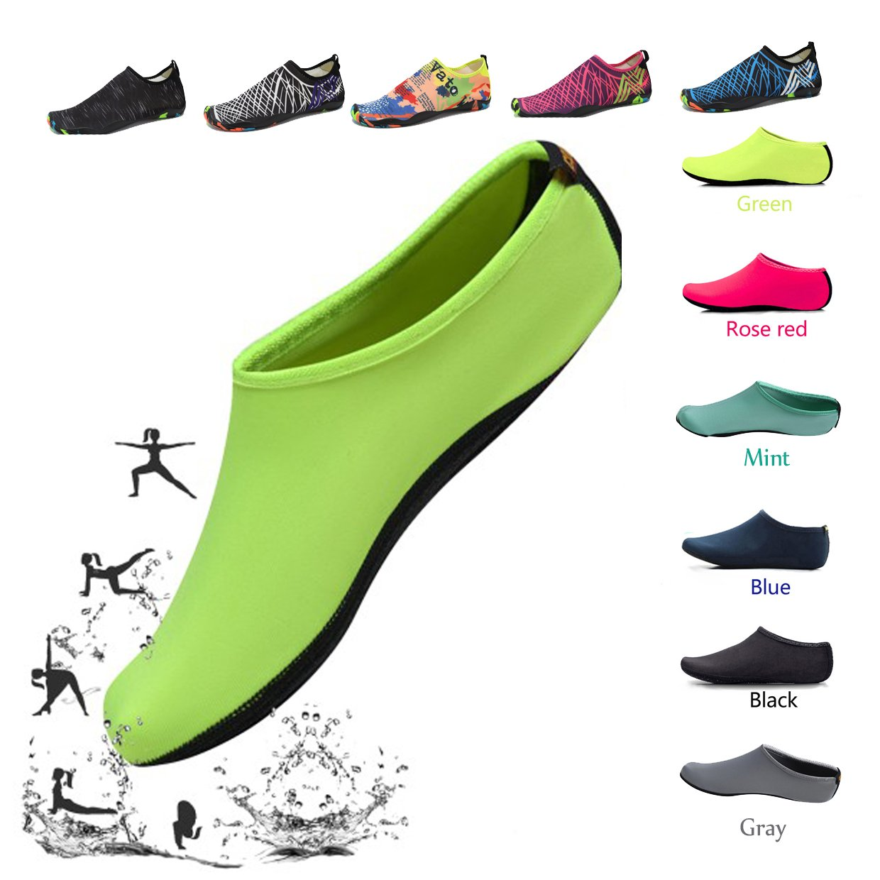 Popular! Convinced Water Shoes Quick Dry Aqua Shoes For Swim Quick Dry Aqua Shoes For Beach Snorkeling Socks Yoga Surf Outdoor Water Sport Men Women Water Shoes (7 Hot Pink)