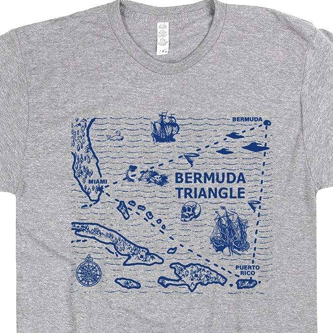 Amazon.com: Bermuda Triangle T Shirt Triangle Map Shirts UFO Alien ...