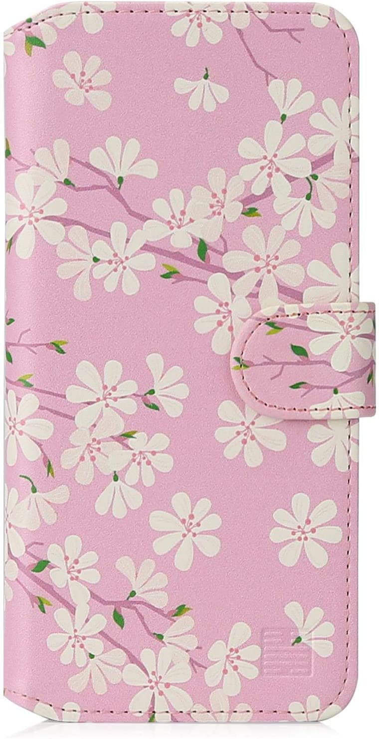 """32nd Floral Series 2.0 - Design PU Leather Book Wallet Case Cover for Apple iPhone 12 (6.1"""") / iPhone 12 Pro (6.1""""), Flower Pattern Wallet Style Flip Case with Card Slots - Cherry Blossom"""