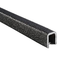 "Trim-lok Edge Trim – Fits 3/8"" Edge, 5/8"" Leg Length, 25' Length, Black, Pebble Texture – Flexible PVC Edge Protector for Sharp/Rough Surfaces, Easy to Install, Model Number: 1375B3X3/8-25"
