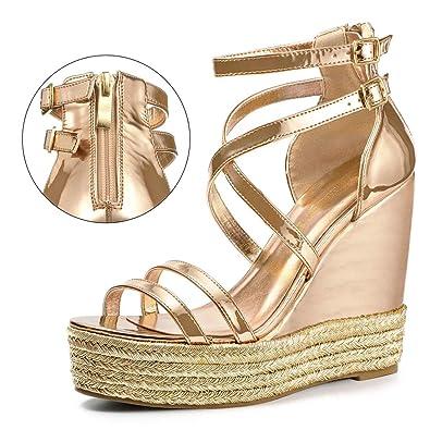 4c2b5d3d9894 Allegra K Women s Espadrille Crisscross Straps Platform Gold Wedges Sandals  6 ...