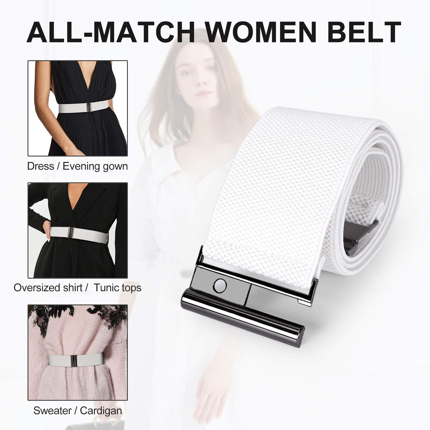 Wide Elastic Stretchy Belts for Women - Trimmer Stretch Waistband Retro Waist Belt White by Whippy