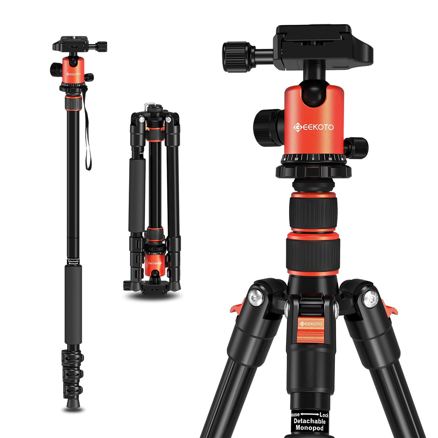Geekoto Tripod, Camera Tripod for DSLR, Compact 58'' Aluminum Tripod with 360 Degree Ball Head and 8kgs Load for Travel and Work