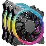 ocelot gaming by quaroni Paquete de 3 Ventiladores de 120mm RGB con Multi Contacto para los Ventiladores y Control Remoto par