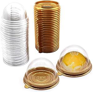 Clear Plastic Mini Cupcake Container,50 PC Mooncake Boxes Muffin Pod Dome Muffin Single Cupcake Holders Individual Cupcake Containers Plastic Disposable (Golden, 50pc)