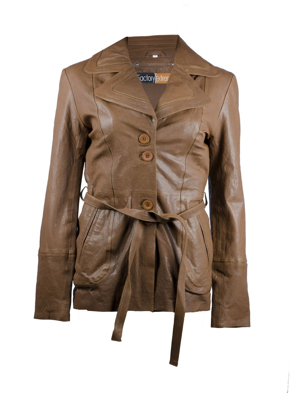 FactoryExtreme Revere Frances Womens Tan Brown Leather Blazer, XXX-Large, Brown by FactoryExtreme