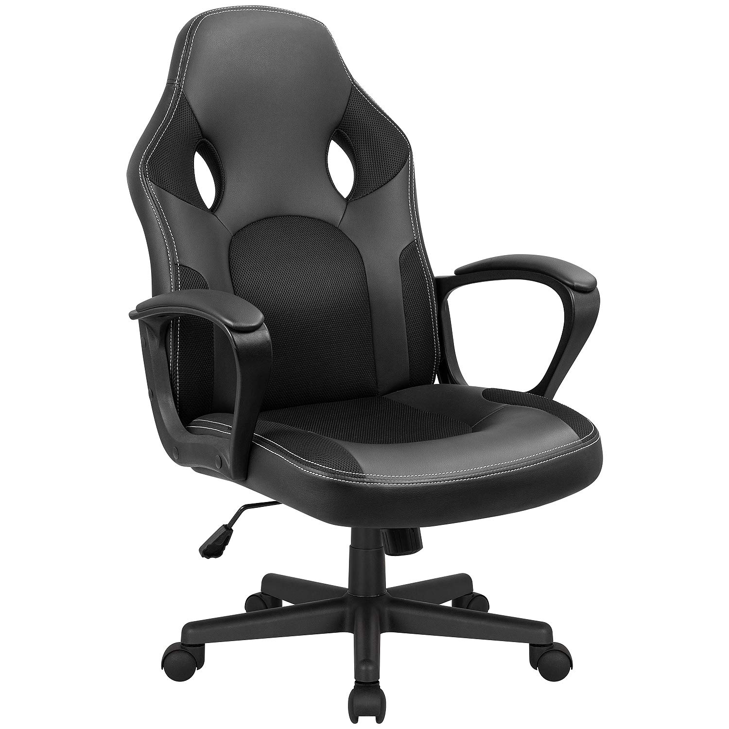 Kaimeng Office Chair Gaming Ergonomic Chair High Back Leather Adjustable Desk Chair Executive Computer Racing Chair Black