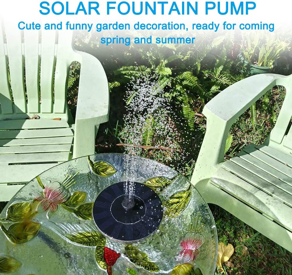 Bird Bath Fish Tank and Lawn 1.2W Solar Garden Water Pump Small Pond Floating Fountain Pond Pump with 4 Nozzles for Garden Pool Coquimbo Solar Fountain Pump