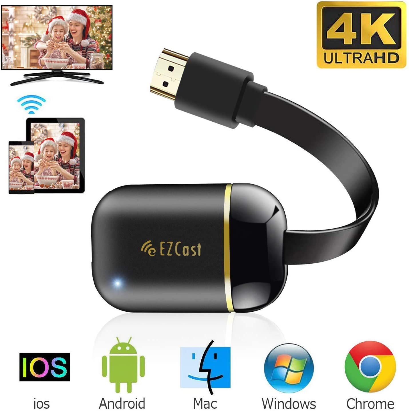 Adaptador de Pantalla Inalámbrico WiFi Dongle HDMI 5GHz + 2.4GHz Adaptador de Pantalla 4K+5G Mini Receptor Soporte Miracast DLNA Airplay para Android/iOS/Windos /TV/Windos/Mac/Proyector