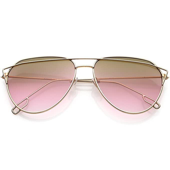 c20d7e06bd sunglassLA - Modern Aviator Sunglasses Metal Crossbar Slim Arms Color  Gradient Flat Lens 58mm (Rose