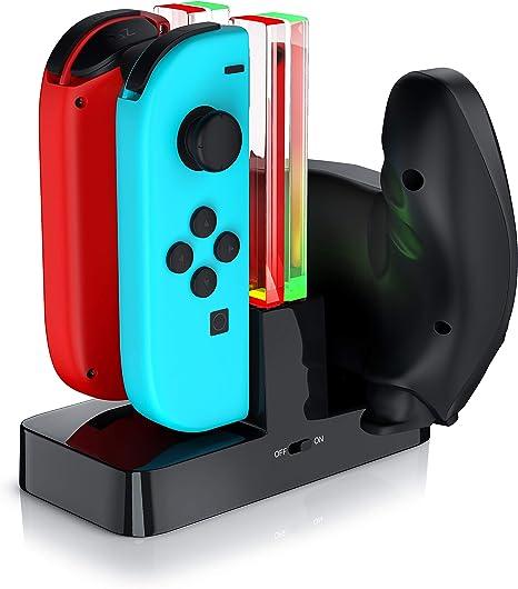 CSL - Estación de Carga Nintendo Switch para los Joy-Con - 4 x JoyCon o 2 x JoyCon y 1 x mando Pro Nintendo Switch - LED de estado - Negro: Amazon.es: Videojuegos