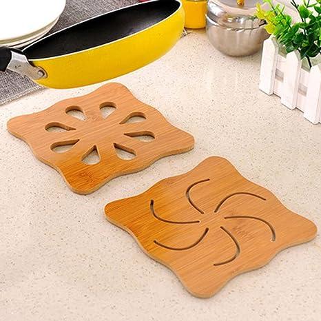 olla taz/ón Juego de 2 soportes de madera de mango para trivet tetera BHAVATU soporte para mostrador platos calientes