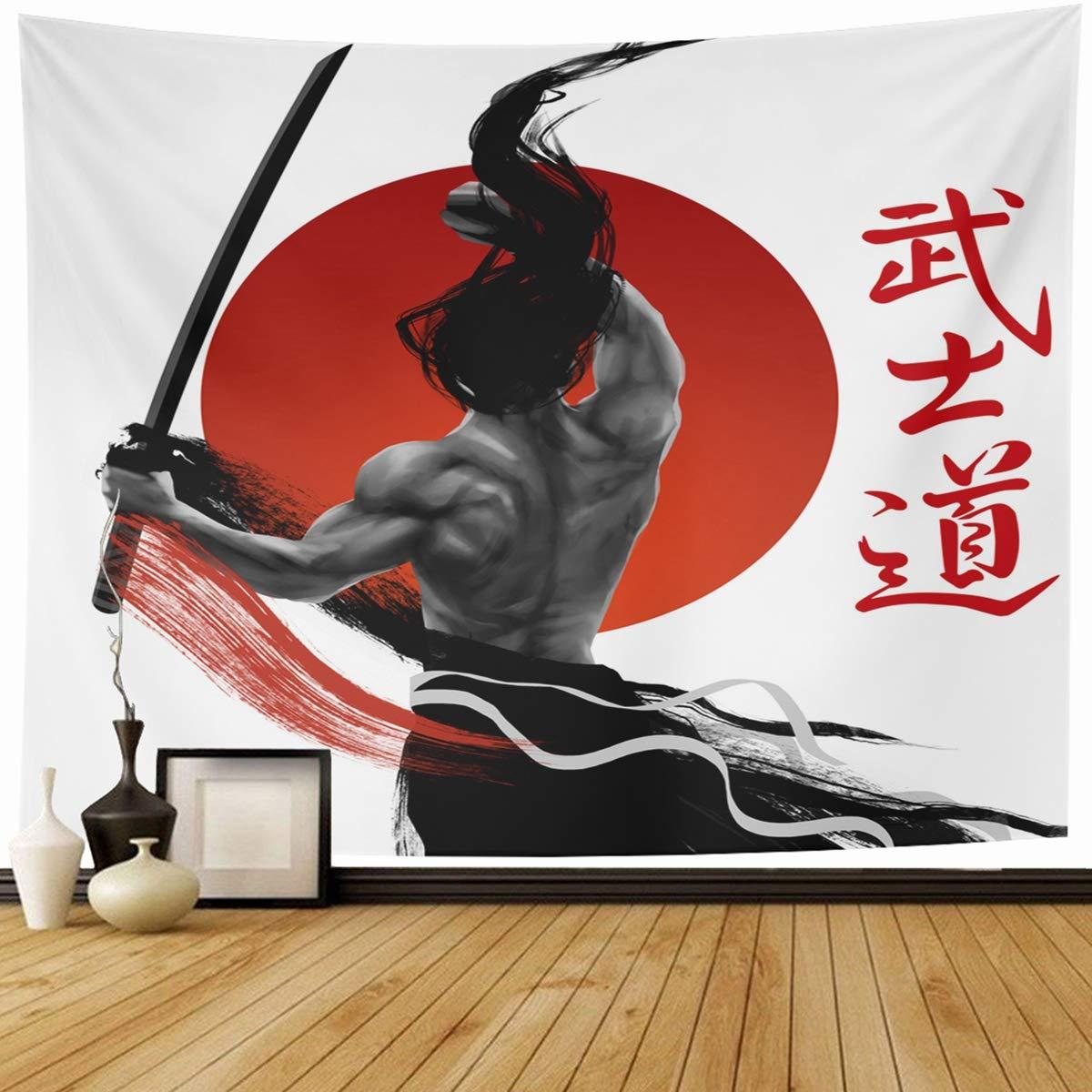 "Ahawoso Tapestry Wall Hanging 80""x60"" Asian Red Warrior Samurai Bushido Ancient Word Way Ninja Asia Martial Home Decor Tapestries Decorative Bedroom Living Room Dorm"
