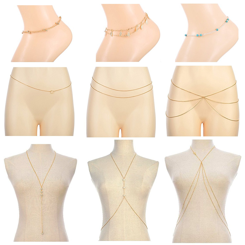 JININA 9pcs Golden Bikini Body Waist Belly Chain Beach Foot Chain for Women Girls-Summer Beach Jewelry Set