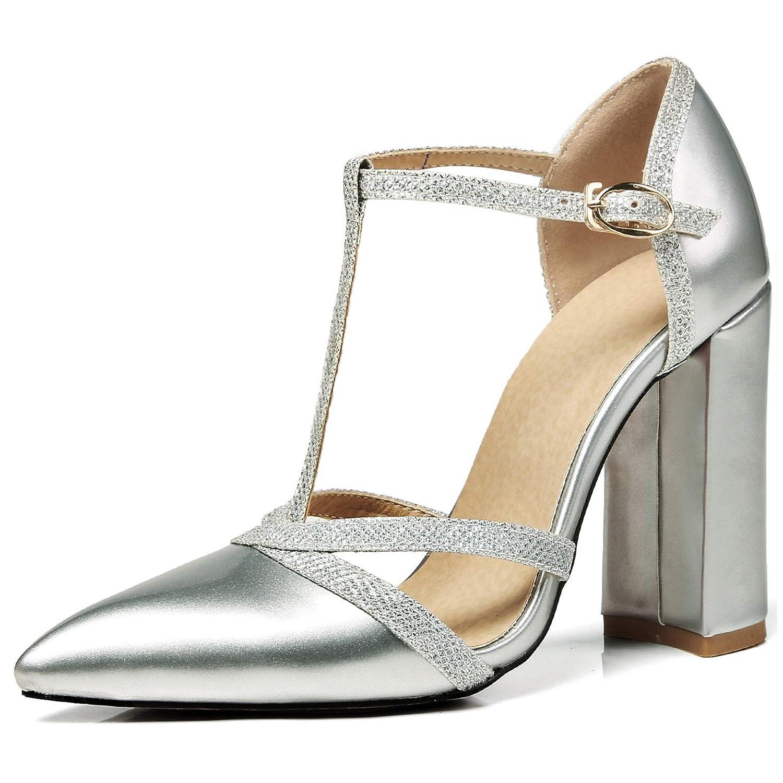 Rongzhi Femmes Chaussures Bloc Cheville T-Sangle Talons Talons Sandales Cheville T-Sangle Bout Pointu Robe Partie Chaussures Brillant Cuir Verni Argent 8bae067 - latesttechnology.space