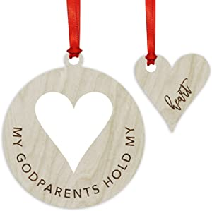 Andaz Press Laser Engraved Wood Family Christmas Ornament, My Godparents Hold My Heart, 1-Pack, Includes Ribbon and Gift Bag
