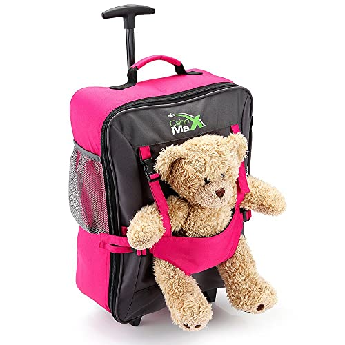 Cabin Max Bear Childrens Luggage Carry On Trolley Suitcase - Pink - Take Your Favourite Bear/Doll/Action Figure On Holiday