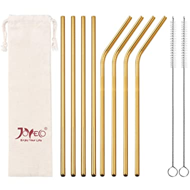 JOYECO Stainless Steel Drinking Straws, Gold Reusable Drink Straw for 20oz Tumblers Rumblers Cold Beverage (Set of 8,4 Bent+4 Straight + 2Brushes)