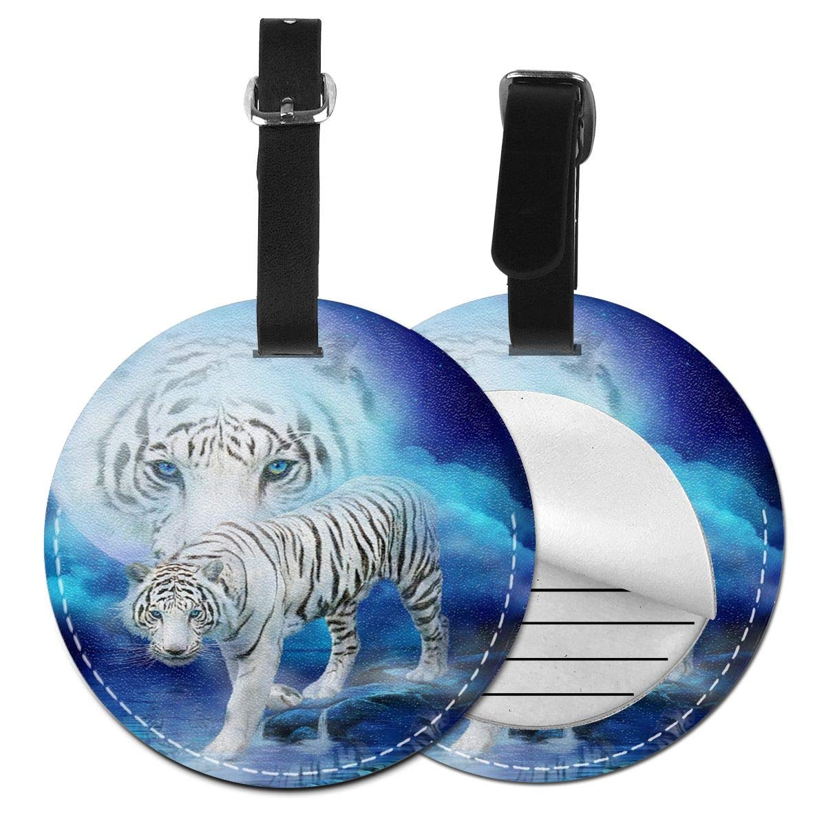 Free-2 White Tiger Moon Luggage Tag 3D Print Leather Travel Bag ID Card