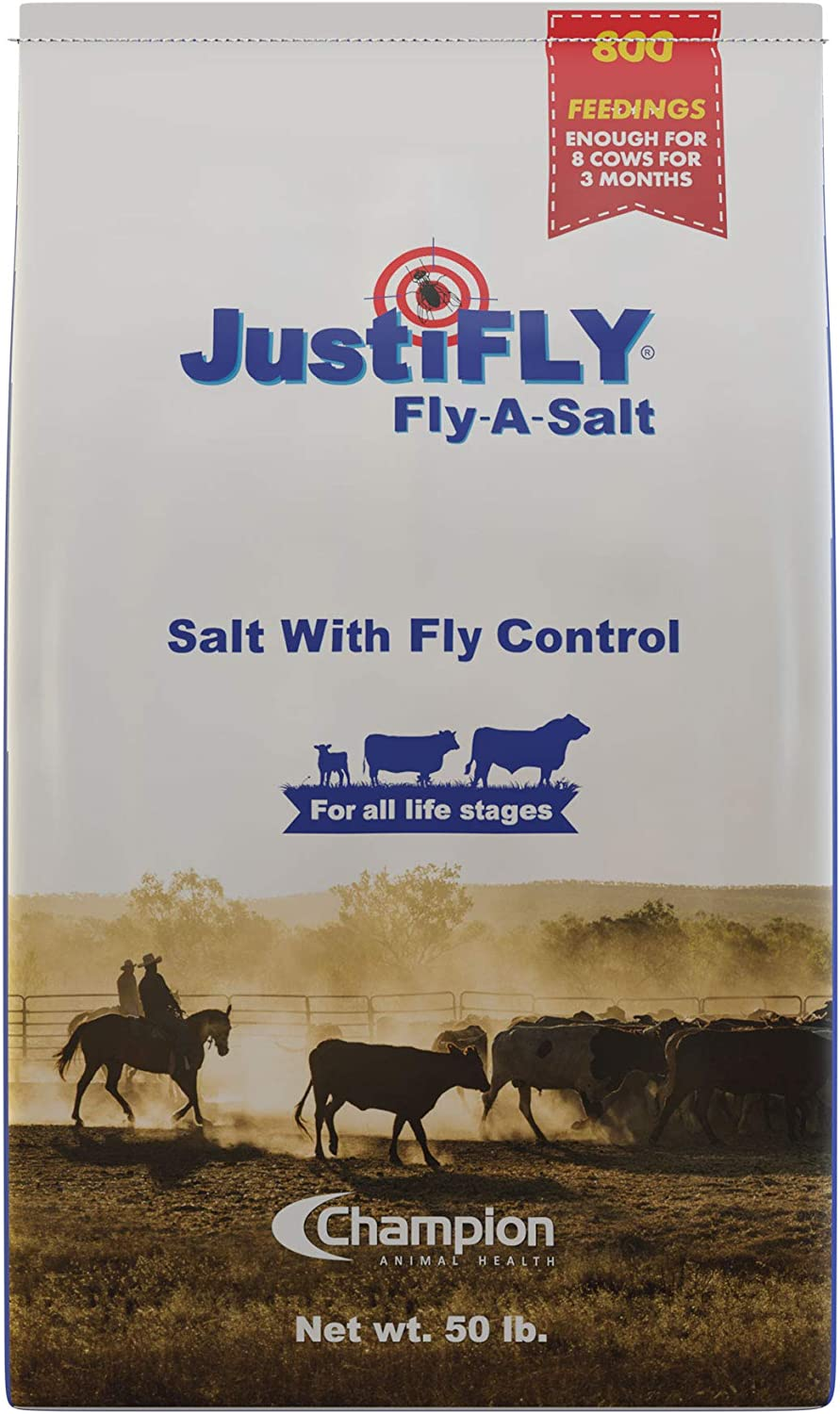 JustiFLY Fly-A-Salt Cattle Fly Control Salt Bag, 50 lb | 800 Feedings Per Salt Bag. One Bag Feeds 8 Cows for 3 Months When You Purchase 5 Or More