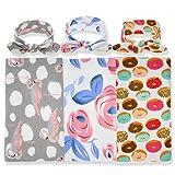 3 Pack BQUBO Newborn Floral Receiving Blankets