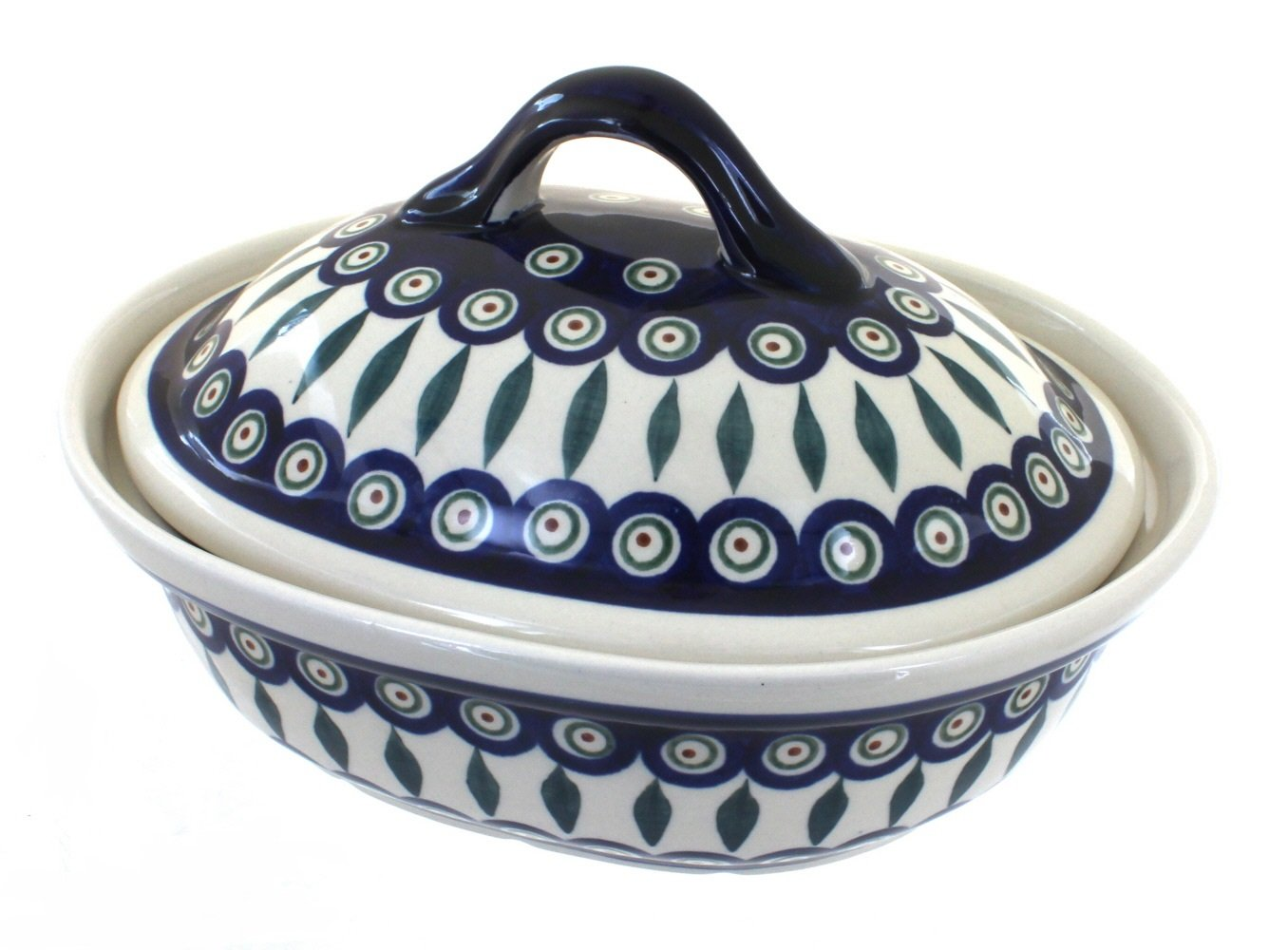 Polish Pottery Peacock Small Oval Baker with Lid
