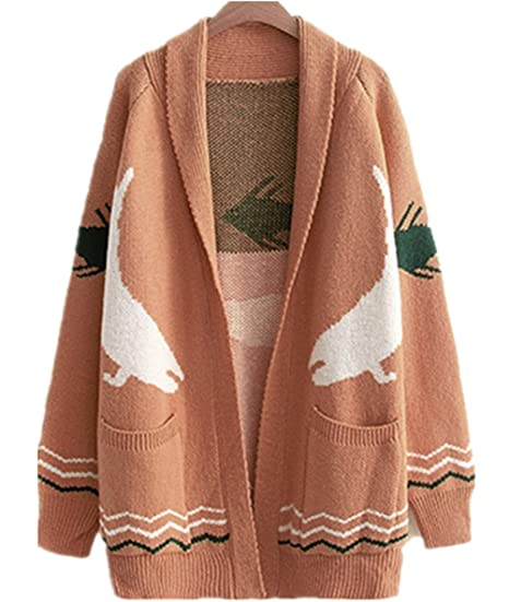 Woowtry Womens Fashion Fish Printed Cardigan Sweater Long Sweaters