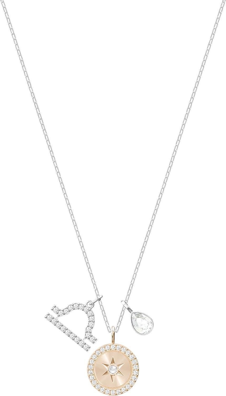Swarovski Colgante Zodiac, Libra, de Mujer, Blanco, Baño de Rodio