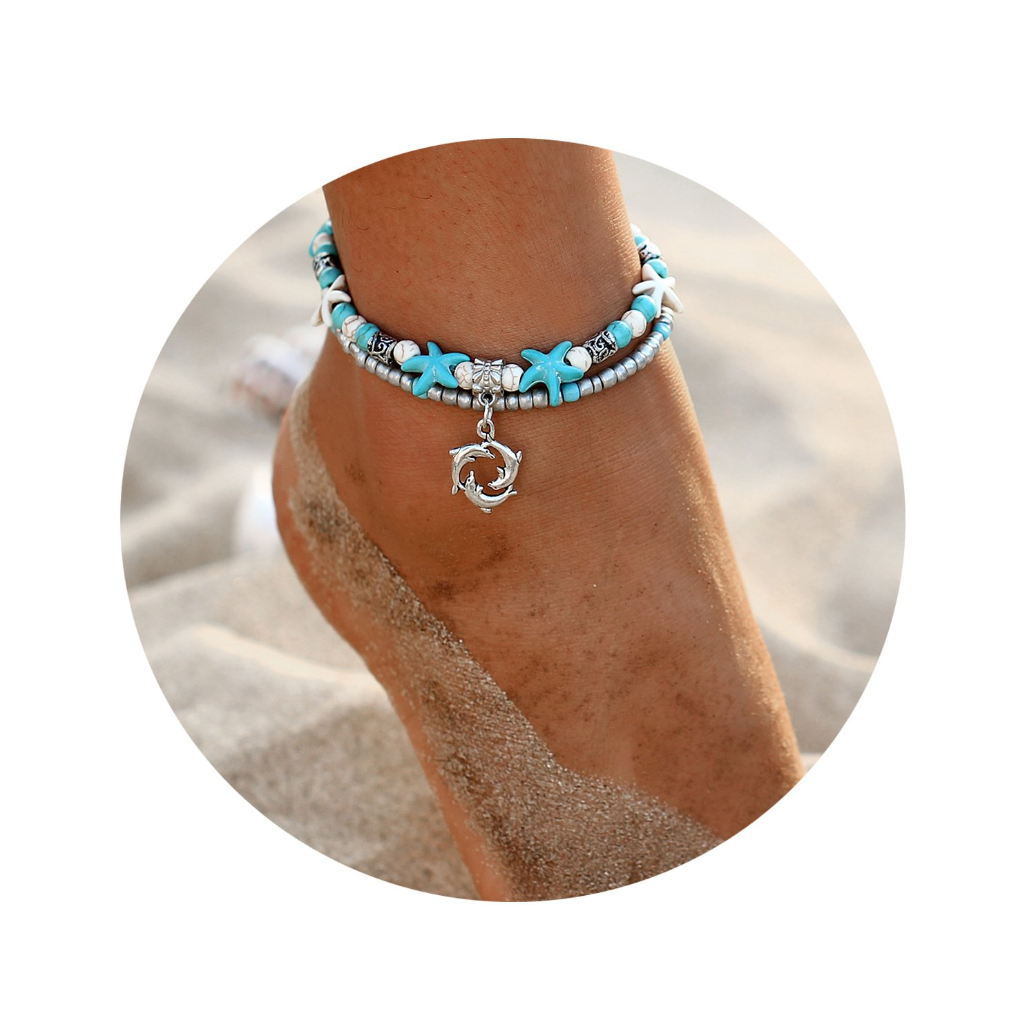FINETOO 17mile Dolphin Blue Boho Starfish Beach Bracelet Anklet Beaded Anklet Shell Multi-Layer Anklets Jewelry Gifts for Girls