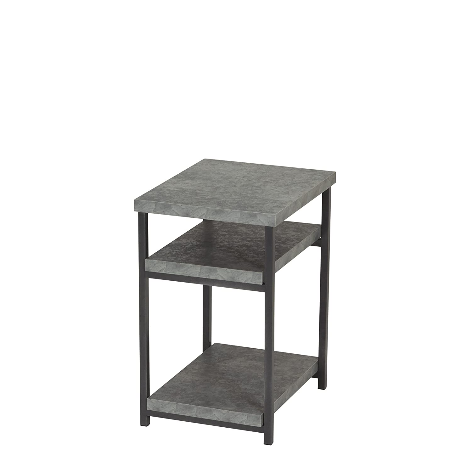 Household Essentials 8097-1 Side Table | End Table with Shelf for Storage | Faux Slate Concrete