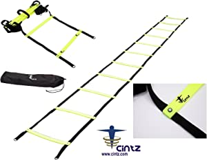 Cintz Agility Ladder- Fixed Rungs Speed Ladder - Mulitple Lengths Available- Comes with Ground Anchors and Carry Strap