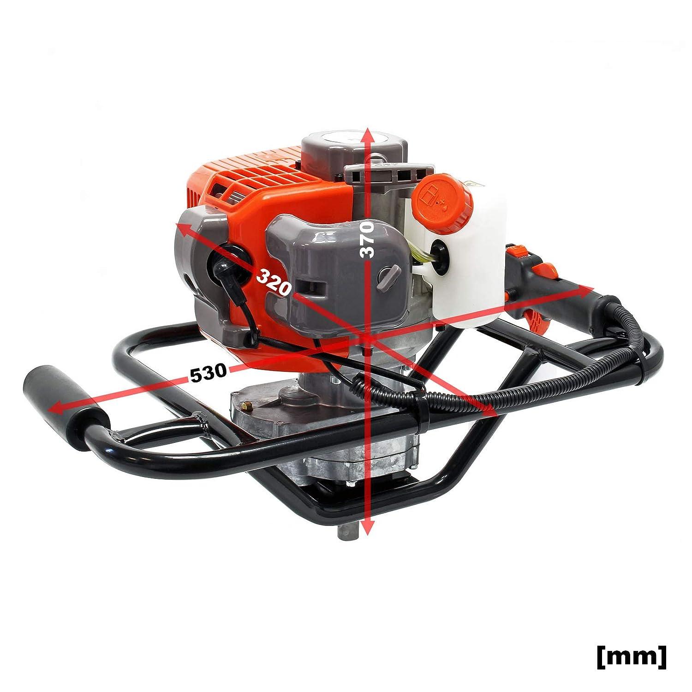 Erdlochbohrer 1.4 kW 1,9 PS 52ccm Benzin Erdbohrer Pfahlbohrer Motorerdbohrer