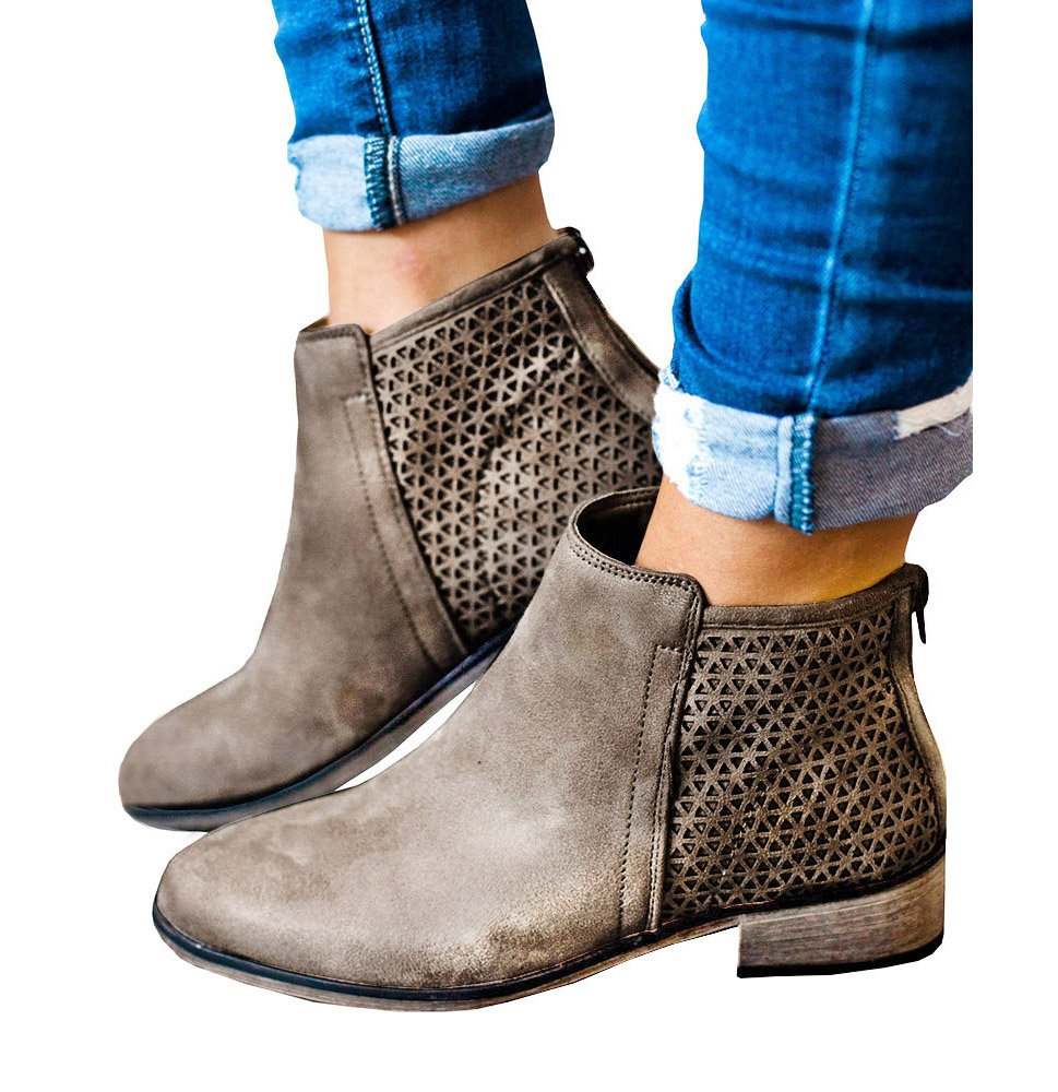 Syktkmx Womens Hollow Out Ankle Boots Western Low Chunky Heel Pointed Toe Zip up Booties