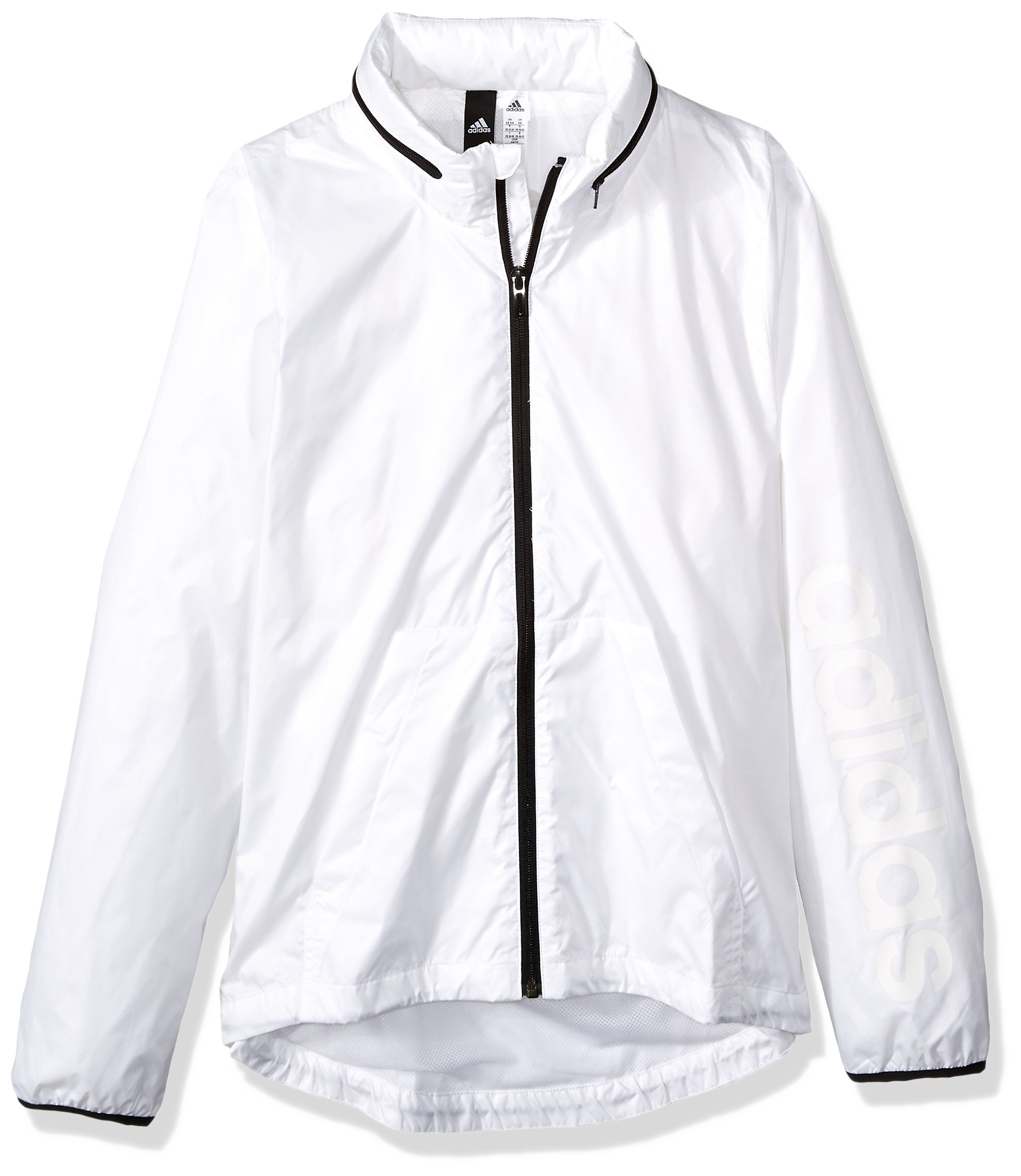 adidas Women's Linear Windbreaker Jacket, White, X-Small