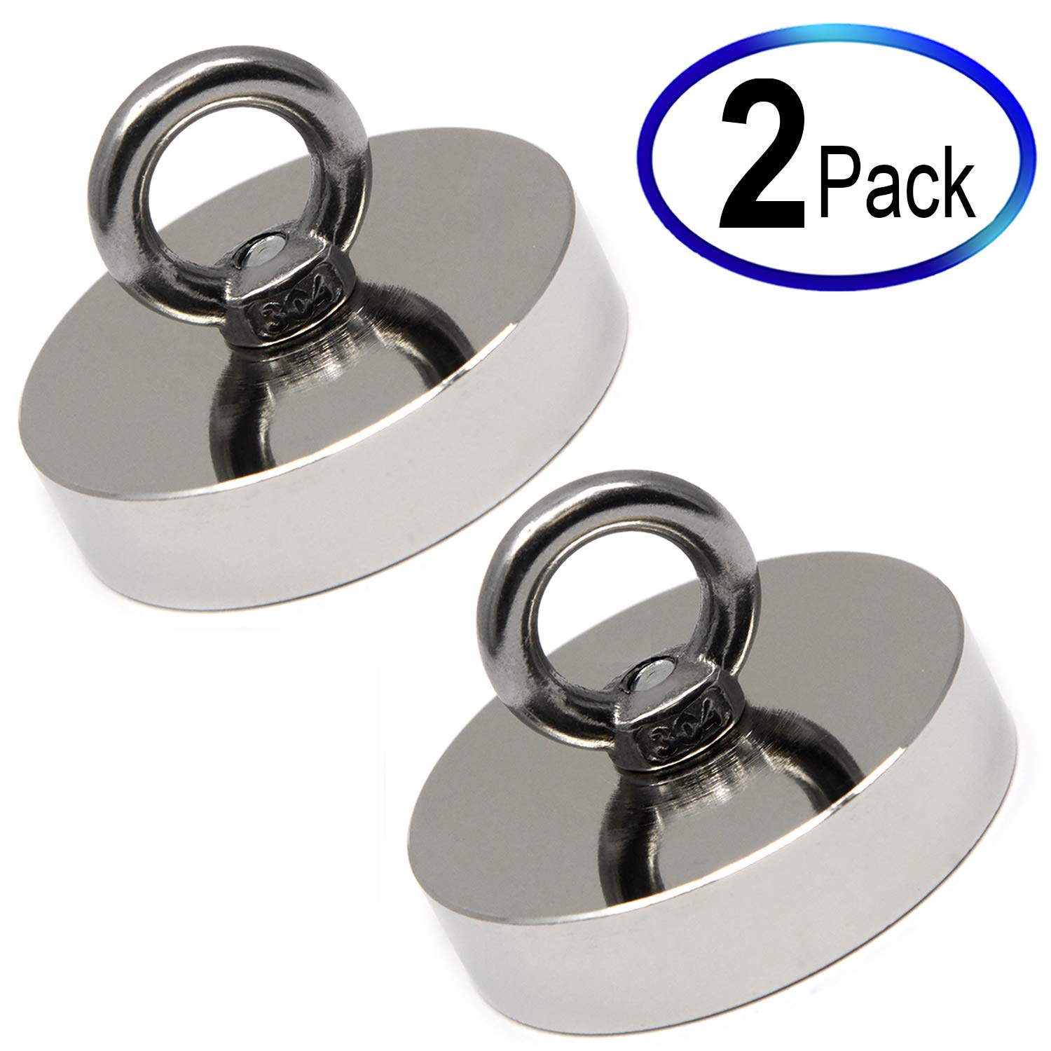CMS Magnetics 2 Pack Fishing Magnets, Powerful Neodymium Magnets w/Eyebolts - 180 Pound Pulling Power Each. Great for Magnetic Fishing and Treasure Hunting