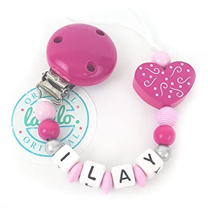 Cadena para chupete personalizable con nombre, rosa + corazón ...