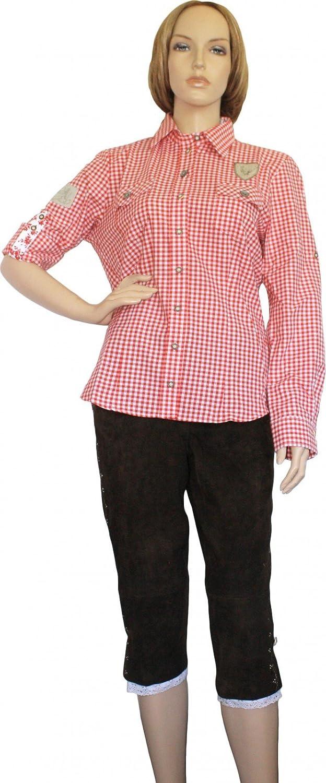 Trachtenbluse Damen Trachten lederhosen-bluse Trachtenmode ROT kariert