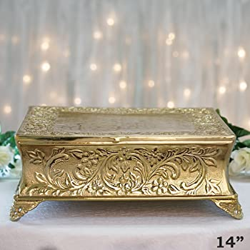 Amazon Com 14 Quot Square Cake Plateau Gold Plated Cake