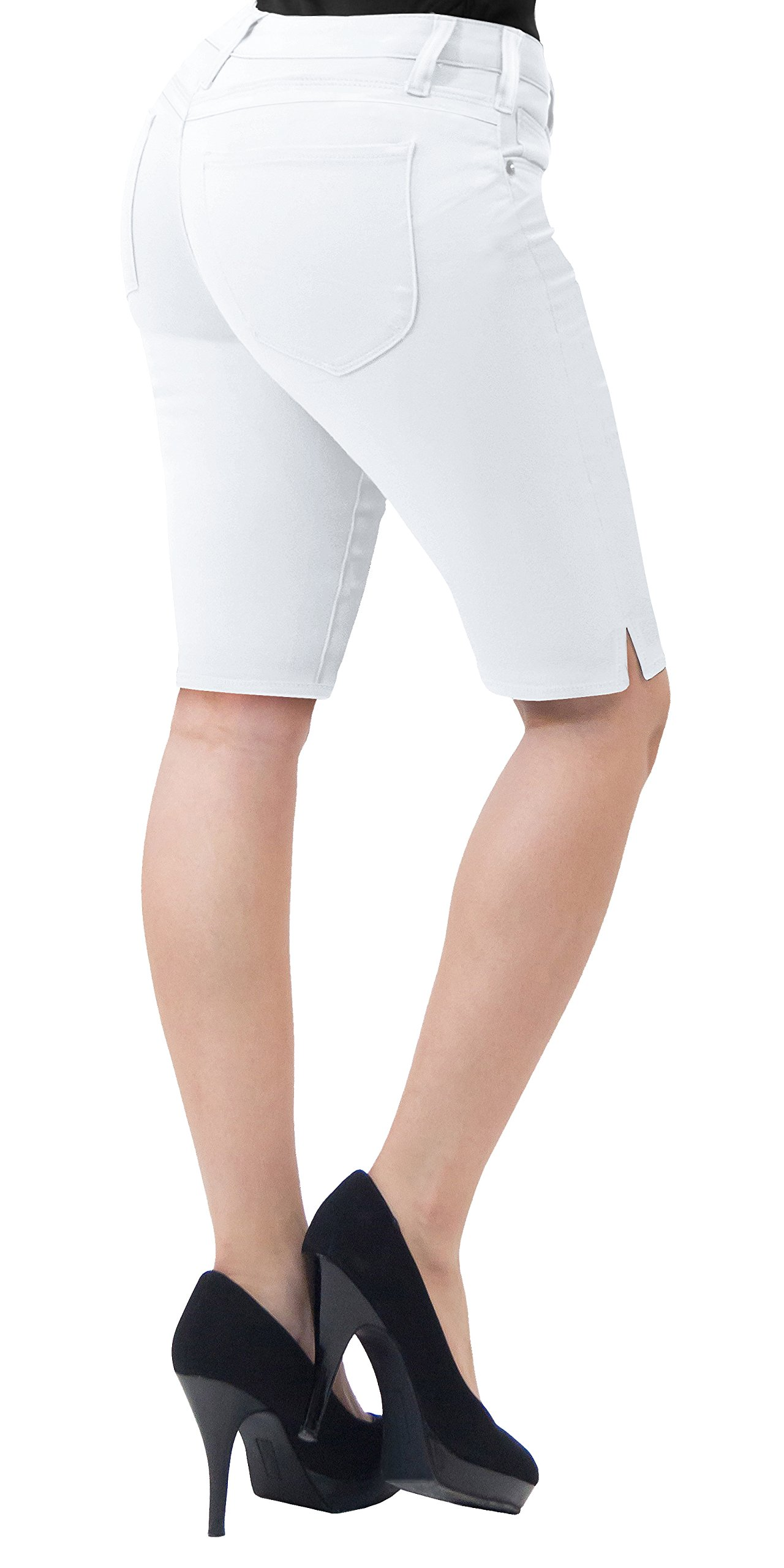 HyBrid & Company Women's Stretchy Denim Bermuda ShortB19411X White 16