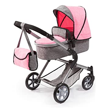 Amazon.es: Bayer Design 18125AA - Cochecito de muñecas City Neo, convertible, rosa, gris: Juguetes y juegos