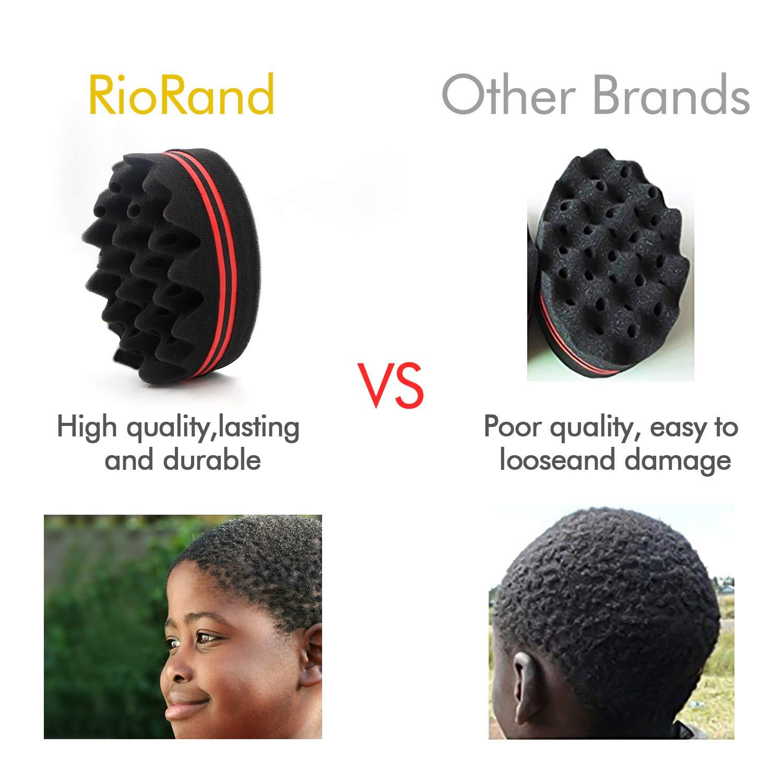 RioRand Magic Barber Sponge Hair Twist Brush for Afros,Men,Women,Wave Tornado Coils Dreadlocks Hair Styling Small Holes(2pcs)